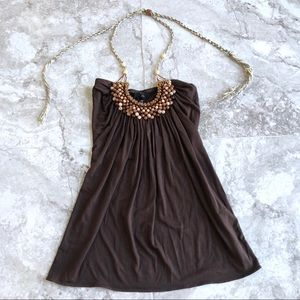Sky • Brown Beaded Embellished Halter Tie Top